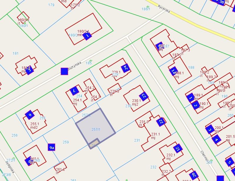 Mapa nieruchomości niezabudowanej przy ul. Chełmska